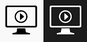 Television Icon on Black and White Vector Backgrounds. This vector illustration includes two variations of the icon one in black on a light background on the left and another version in white on a dark background positioned on the right. The vector icon is simple yet elegant and can be used in a variety of ways including website or mobile application icon. This royalty free image is 100% vector based and all design elements can be scaled to any size.
