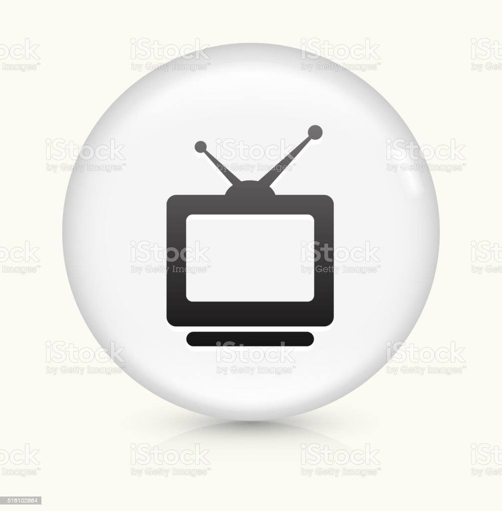 Television icon on white round vector button vector art illustration