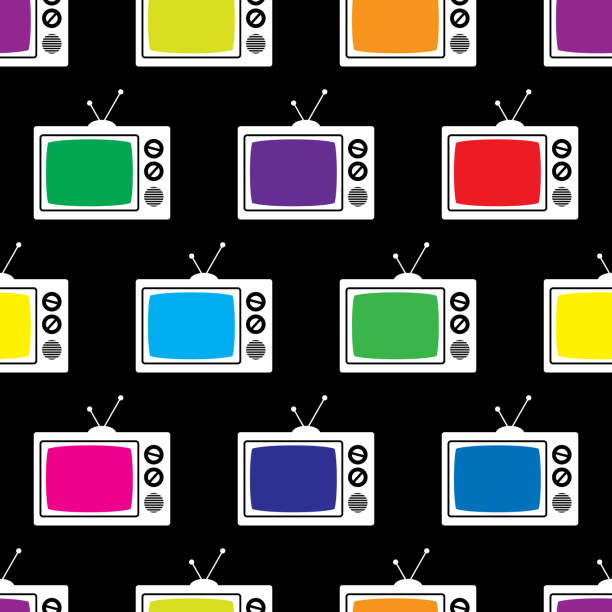 Television Icon Pattern Vector illustration of multi-colored televisions in a repeating pattern against a black background. portable television stock illustrations