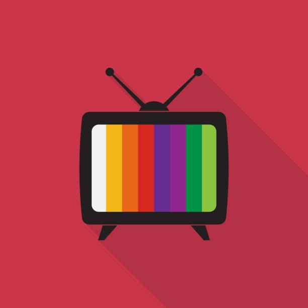 television icon with long shadow on red background, flat design style - телевизионная индустрия stock illustrations