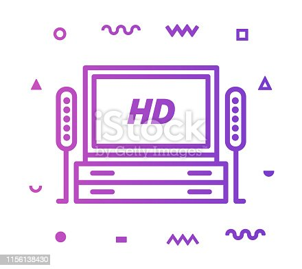 istock Television Industry Line Style Icon Design 1156138430