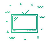 Television outline style icon design with decorations and gradient color. Line vector icon illustration for modern infographics, mobile designs and web banners.