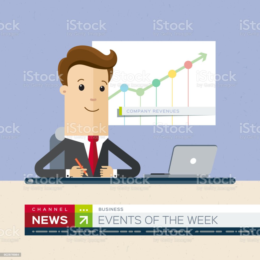 Television News Announcer On Background TV Breaking Illustration Flat Royalty Free