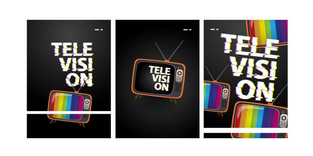 television poster set television poster set with glitch text and dark color television set stock illustrations