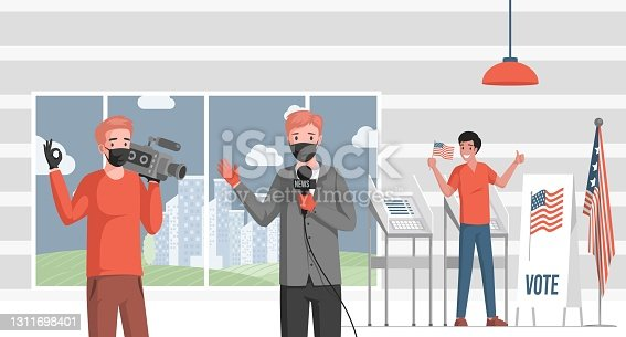 istock Television reporter cover news about American elections vector flat illustration. Man standing near voting stand. 1311698401
