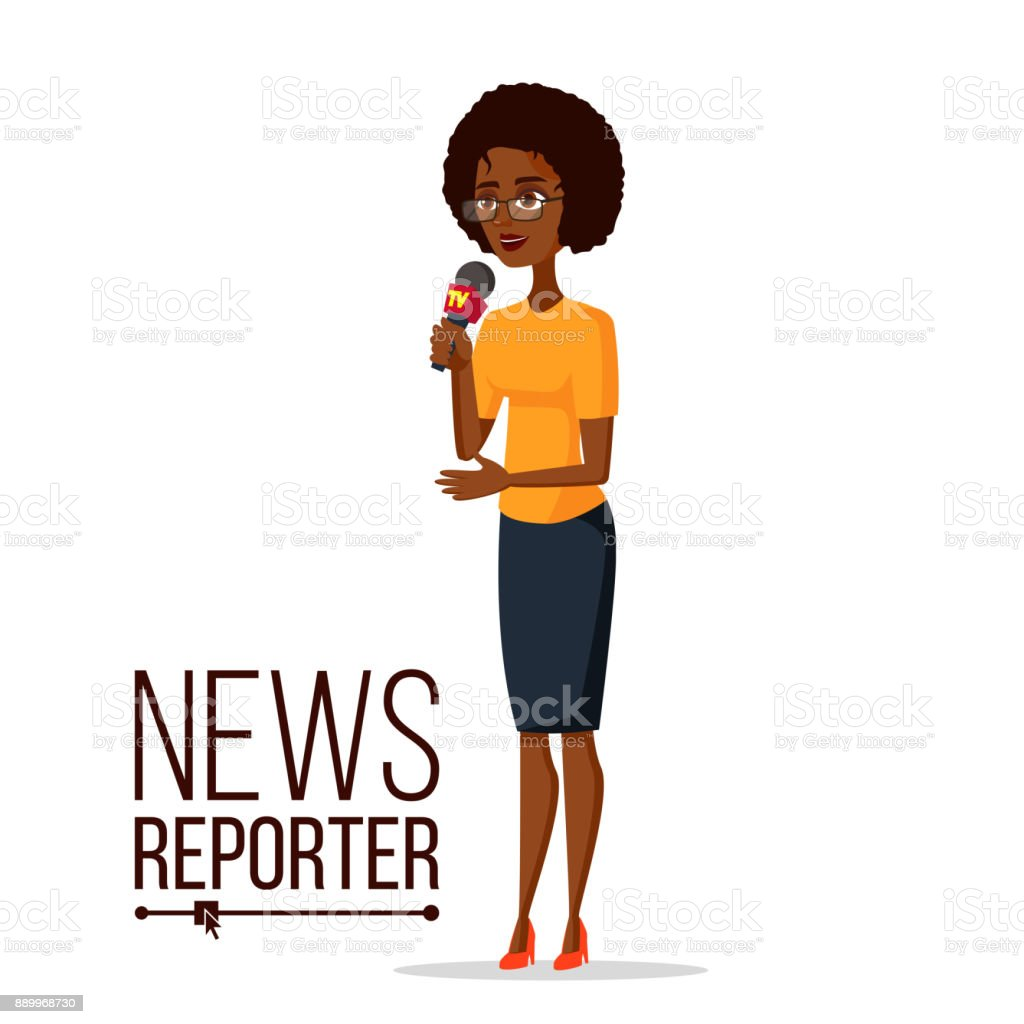 Television Reporter Vector. Reporter Girl. TV Transmission With A Reporter. Flat Cartoon Illustration vector art illustration