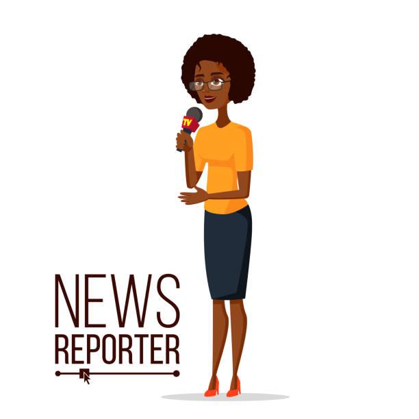 TV-Reporter-Vektor. Reporter-Mädchen. TV-Übertragung mit einem Reporter. Flache Cartoon Illustration – Vektorgrafik