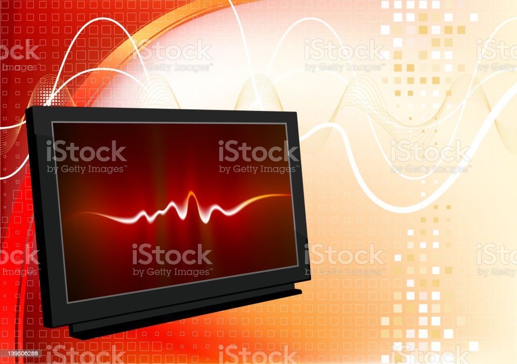 3D television screen on red Background royalty-free stock vector art