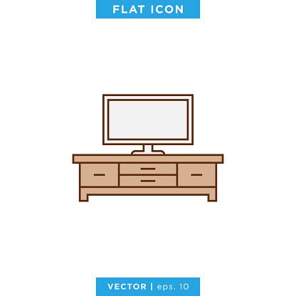 Television Table Icon Vector Stock Illustration Design Template.