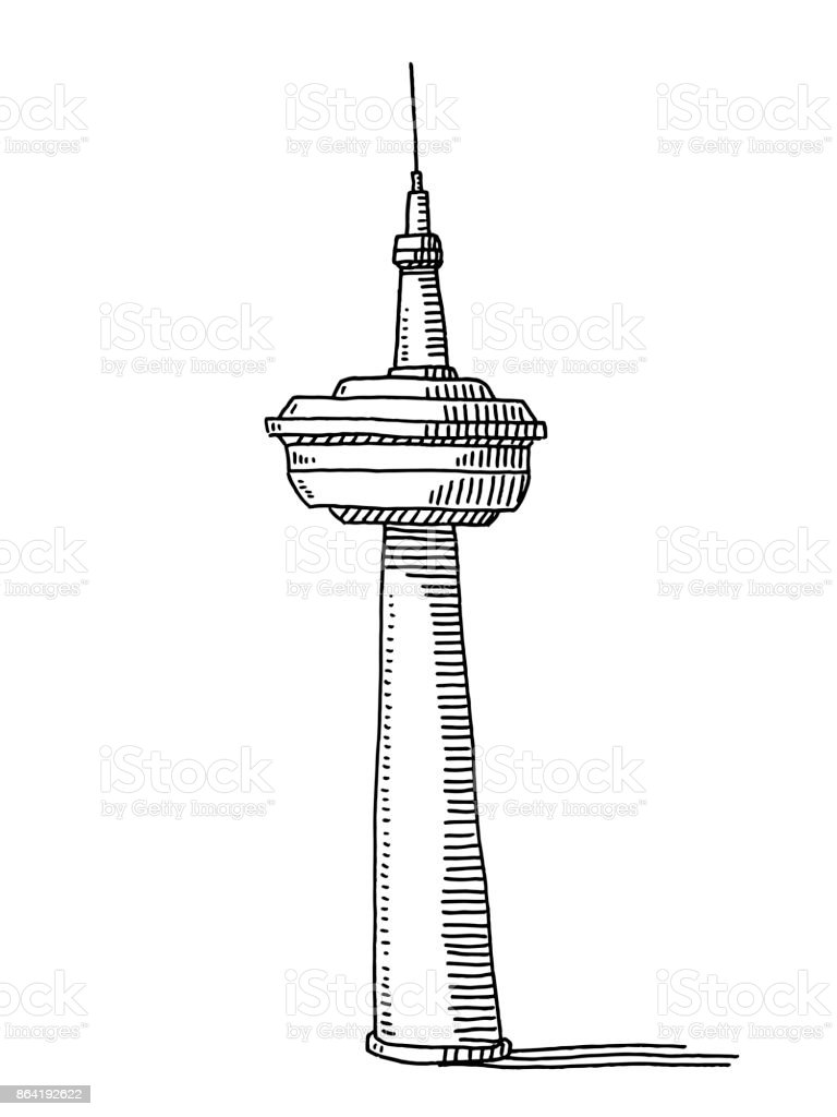Television Tower Drawing royalty-free television tower drawing stock vector art & more images of antenna - aerial