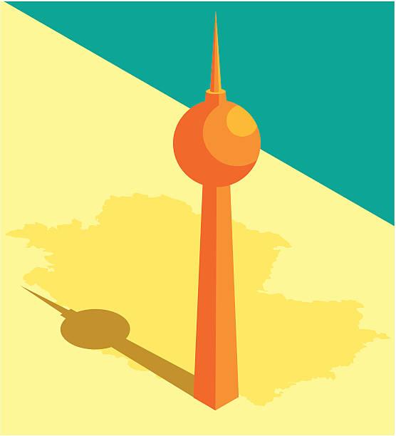 television tower - berliner fernsehturm stock-grafiken, -clipart, -cartoons und -symbole