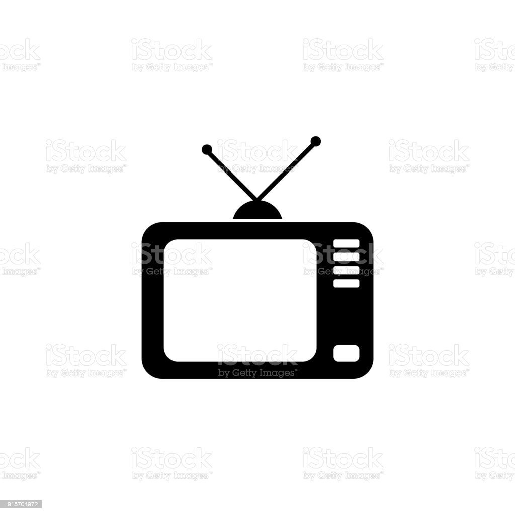 Television with antenna , vector icon - Illustration vector art illustration