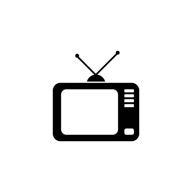 fernseher mit antenne, vektor icon - illustration - bildschirme stock-grafiken, -clipart, -cartoons und -symbole