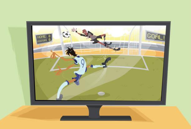 A televisão e o futebol Televisão transmitindo lance de futebol futebol stock illustrations