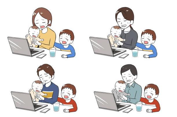 泣いている2人の子供に悩まされたテレワーク ベクターアートイラスト