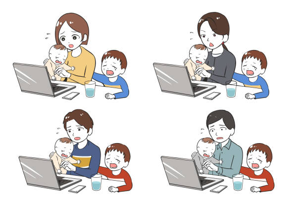 二人の子供に泣きながらテレワーク ベクターアートイラスト