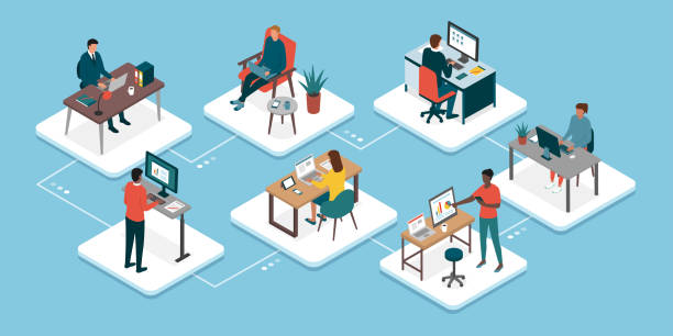 Teleworking and business teamwork vector art illustration