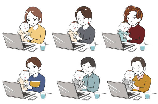 眠っている子供を抱きながらテレワーク ベクターアートイラスト