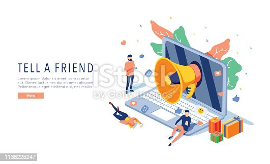 Tell a friend vector website template, web page and landing page design for website and mobile site development. Customer referral program, referral marketing concepts. Reward for repost, strategy