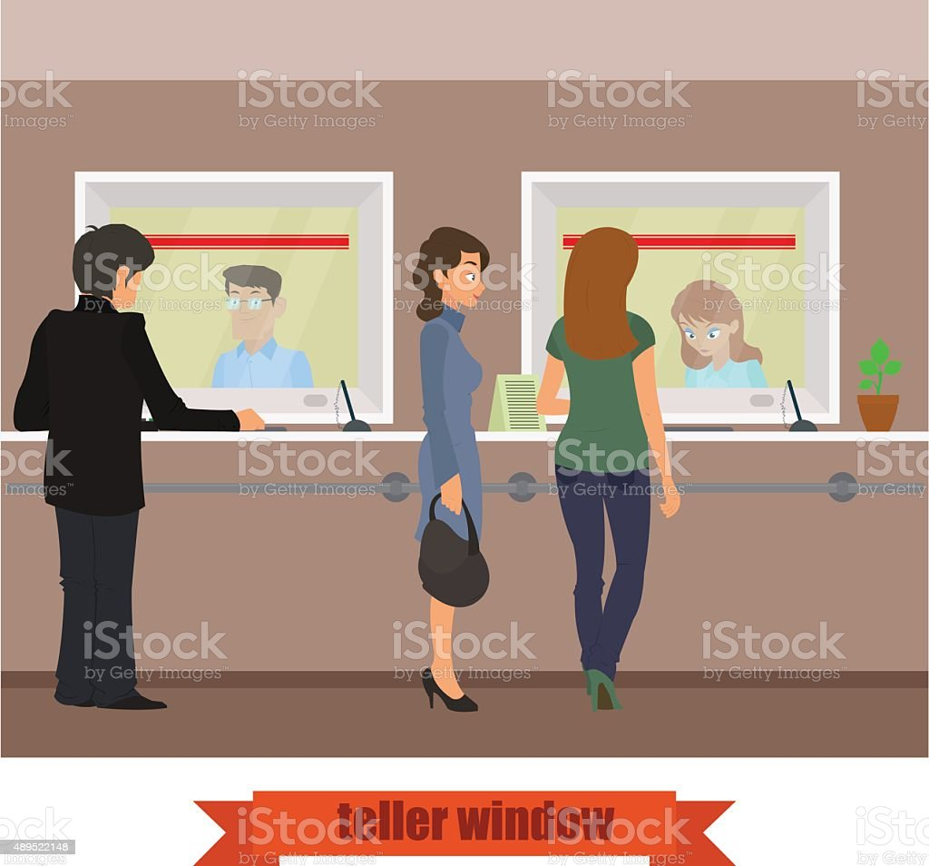 teller window vector art illustration