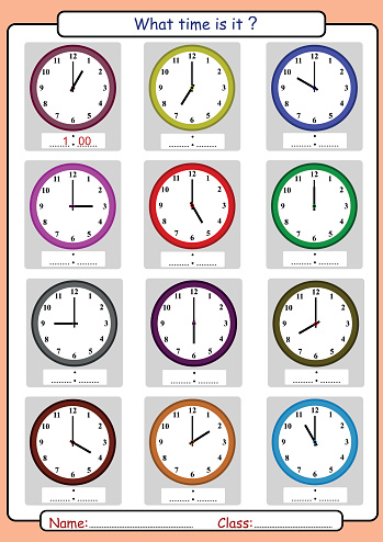 Telling Time Worksheet What Time Is It Stock Illustration ...