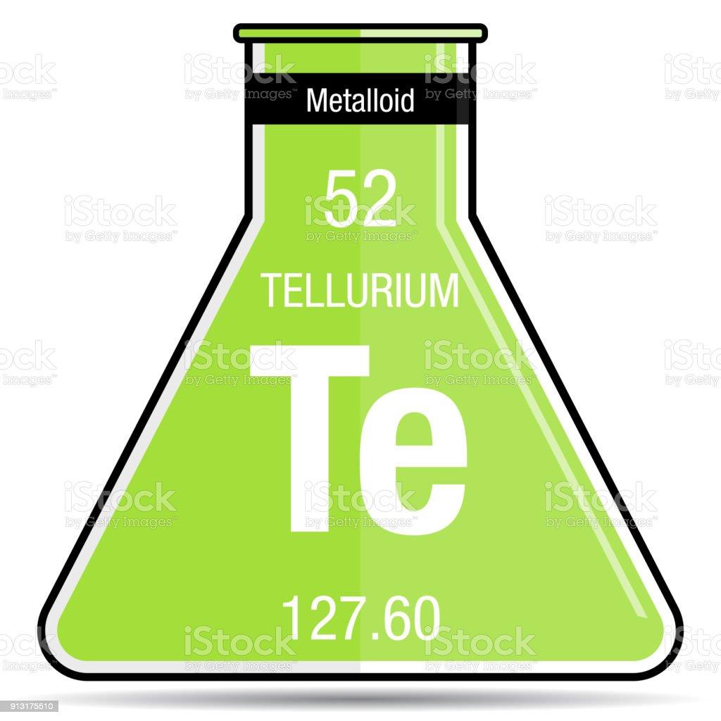 Tellurium Symbol On Chemical Flask Element Number 52 Of The Periodic