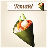 Temakii sushi. Detailed Vector Icon