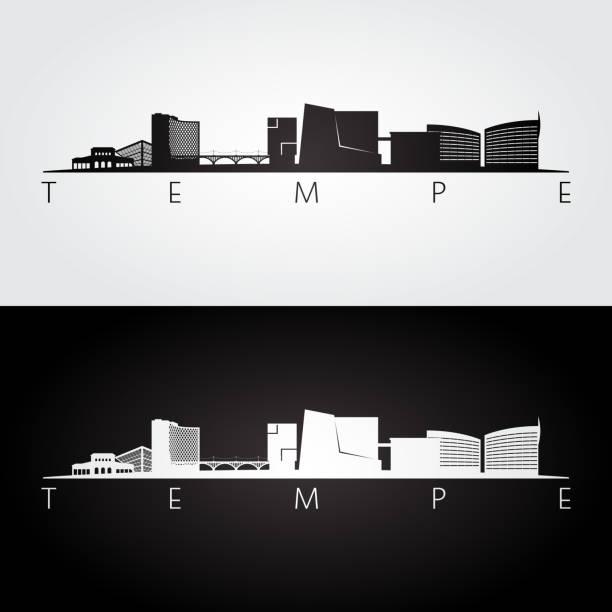 Tempe, Arizona skyline and landmarks silhouette, black and white design, vector illustration. Tempe, Arizona skyline and landmarks silhouette, black and white design, vector illustration. temps stock illustrations