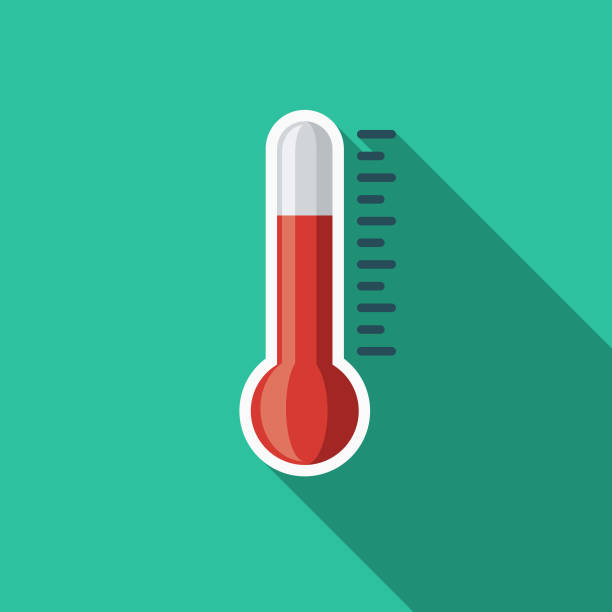 Temperature Flat Design Summer Icon with Side Shadow A colored flat design summer and beach icon with a long side shadow. Color swatches are global so it's easy to edit and change the colors. heat wave stock illustrations