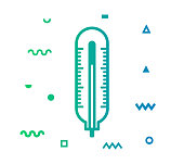 Temperature outline style icon design with decorations and gradient color. Line vector icon illustration for modern infographics, mobile designs and web banners.