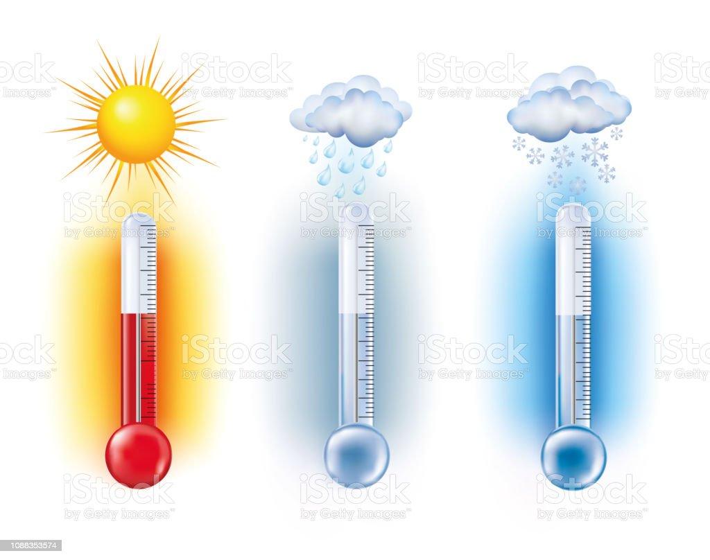 Temperatur Mätning Termometer Med Solen Snö Moln Med Regn