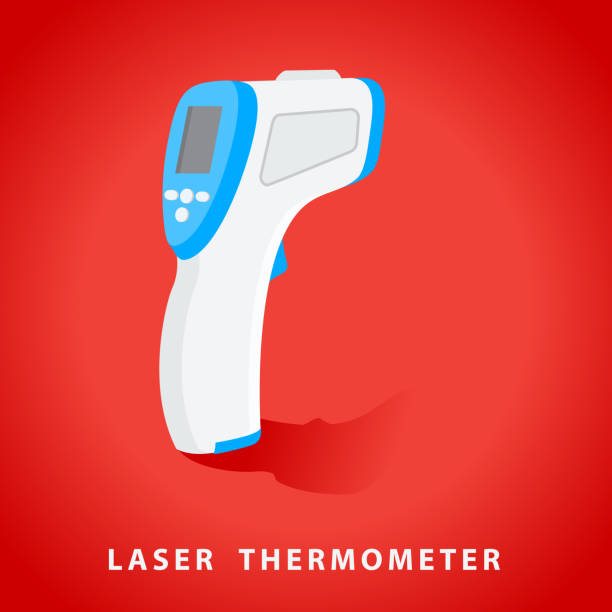 temperature thermometer gun, laser sensor - covid testing stock illustrations