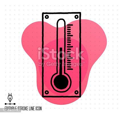 istock Temperatures & Relative Humidity Vector Editable Line Illustration 1215935432