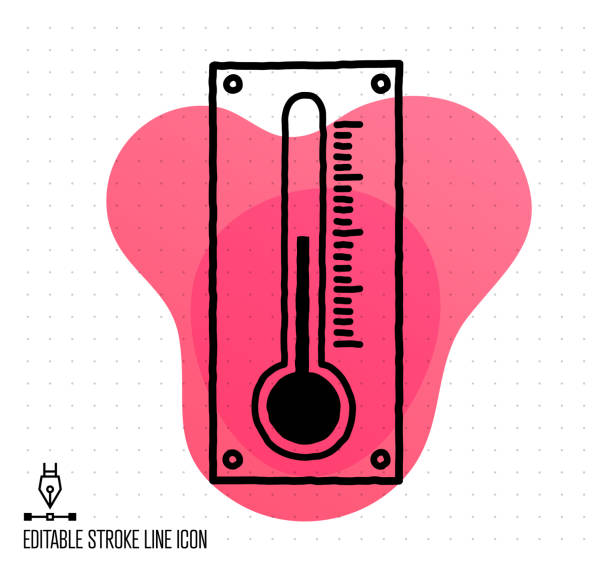 Temperatures & Relative Humidity Vector Editable Line Illustration Hand drawn doodle icon for temperatures and relative humidity to use as vector design element. Minimalistic symbol made in the style of editable line illustration. infrared stock illustrations