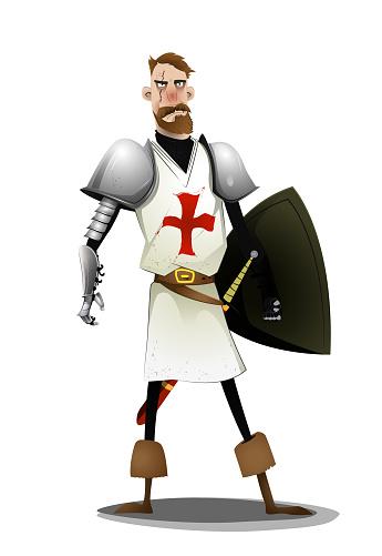 Templar knight standing on white background.