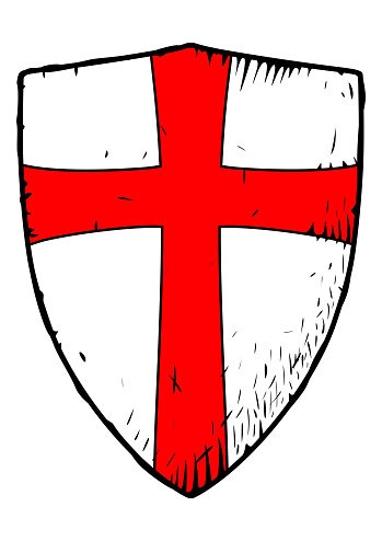 Templar shield with a red cross
