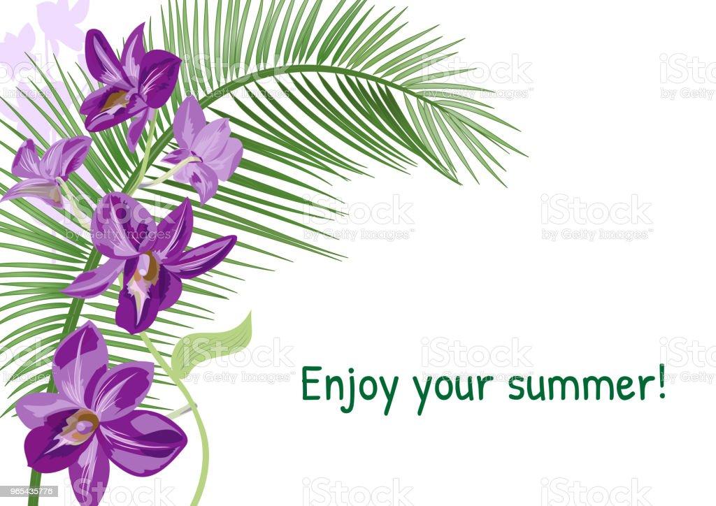Templat für Urlaub Einladung, horizontale Karte mit lila Dendrobium Orchidee Blüten, Kokospalme Blatt. Tropische Pflanzen auf weißem Hintergrund, Vektor-botanische Illustration für design - Lizenzfrei Altertümlich Vektorgrafik