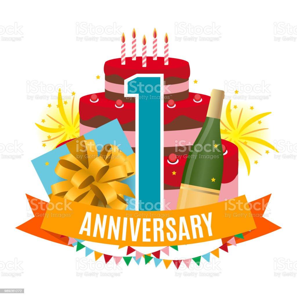 Sjabloon 1 Jaar Verjaardag Gefeliciteerd Wenskaart Met Cake De Doos