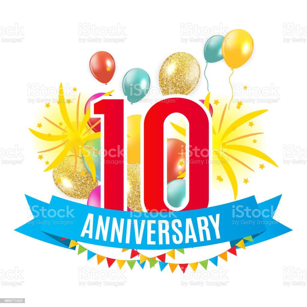 Ilustración De Plantilla 10 Años Aniversario Felicitaciones Tarjeta De Felicitación Con Globos Invitación Vector Ilustración Y Más Vectores Libres De