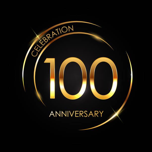 bildbanksillustrationer, clip art samt tecknat material och ikoner med mall 100 år jubileum vektorillustration - nummer 100