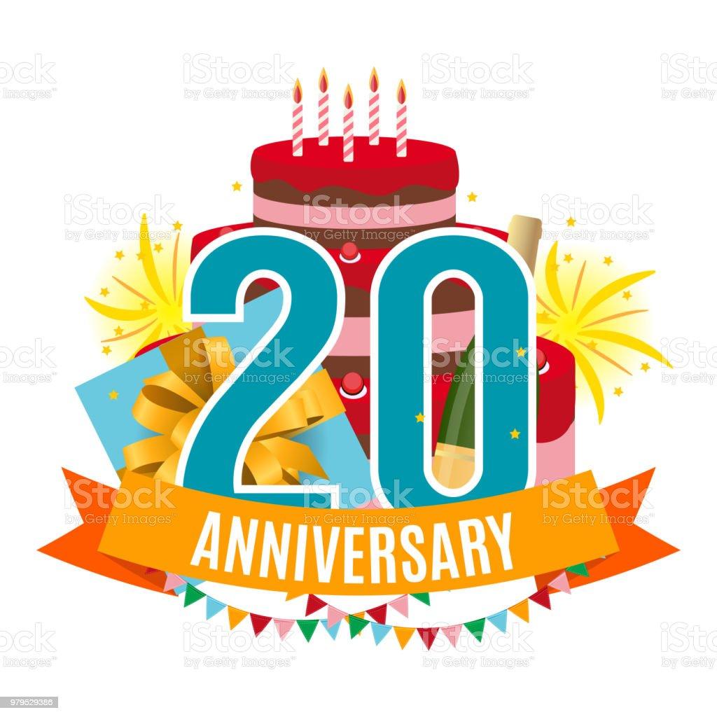 Ilustración de Plantilla 20 Años Aniversario Felicitaciones Tarjeta ...