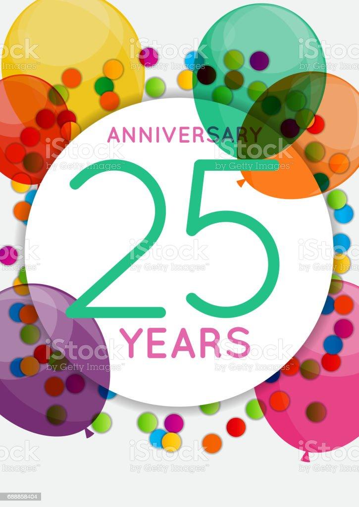 Vorlage 25 Jahre Jubiläum Herzlichen Glückwunsch, Grußkarte, Einladung Vektor-Illustration – Vektorgrafik