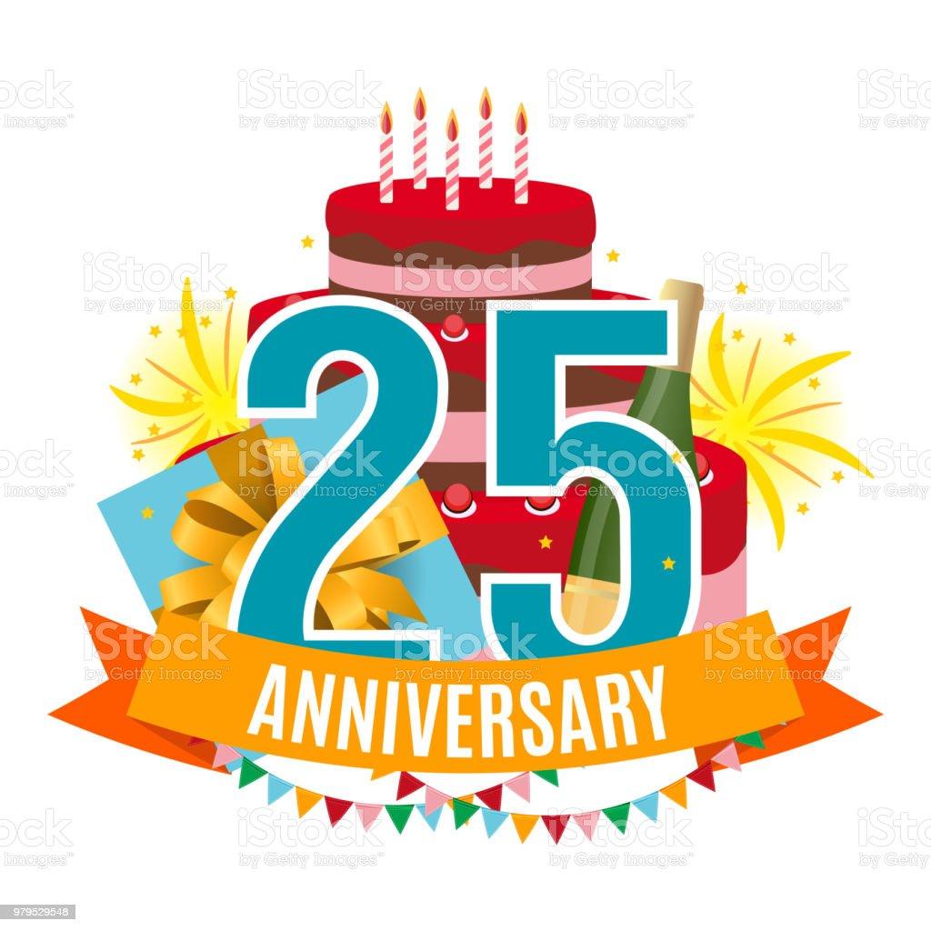 Vorlage 25 Jahre Jubiläum Glückwünsche, Grußkarte mit Kuchen, Geschenk-Box, Feuerwerk und Multifunktionsleisten-Einladung-Vektor-Illustration – Vektorgrafik