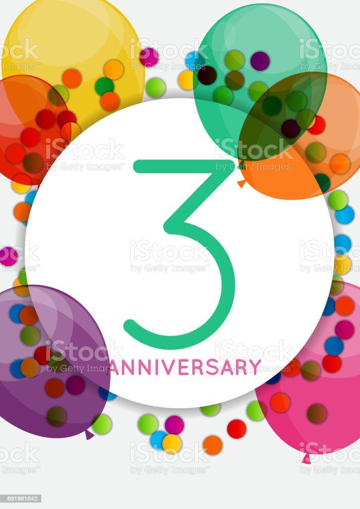 Sjabloon 3 Jaar Verjaardag Gefeliciteerd Wenskaart Inv