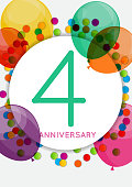 Template 4 Years Anniversary Congratulations, Greeting Card, Inv