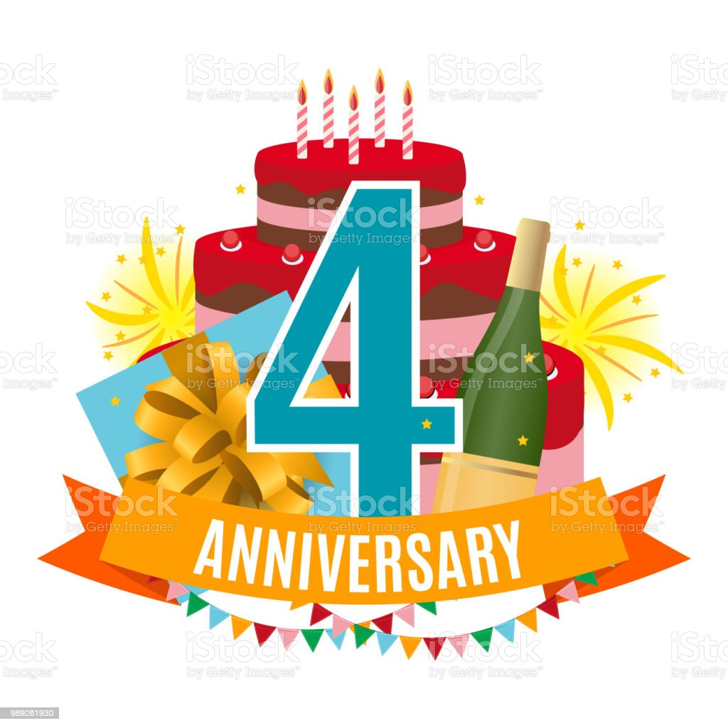 Template 4 Years Anniversary Congratulations Greeting Card With Cake