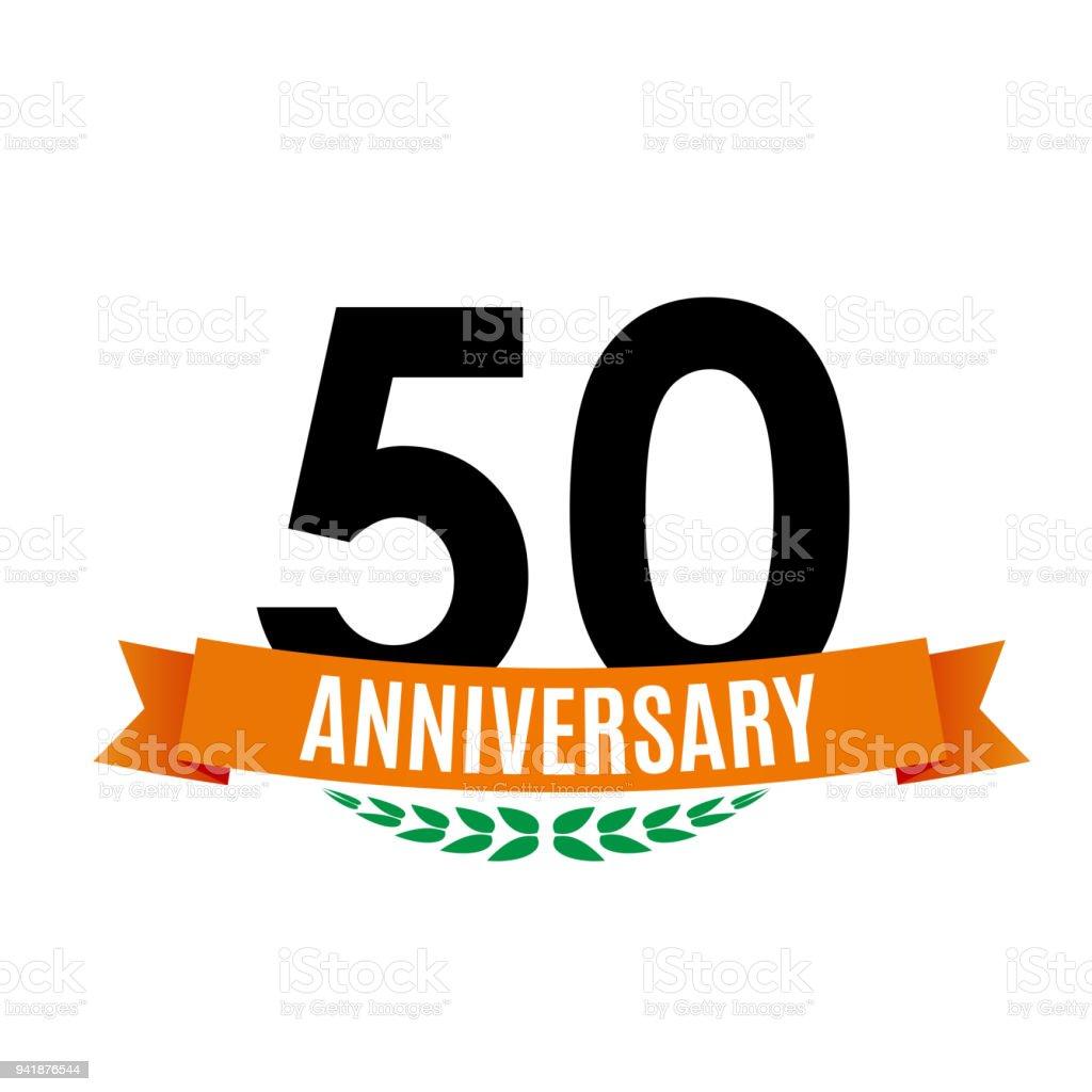 Sjabloon 50 Jaar Verjaardag Achtergrond Met Lint Vectorillustratie