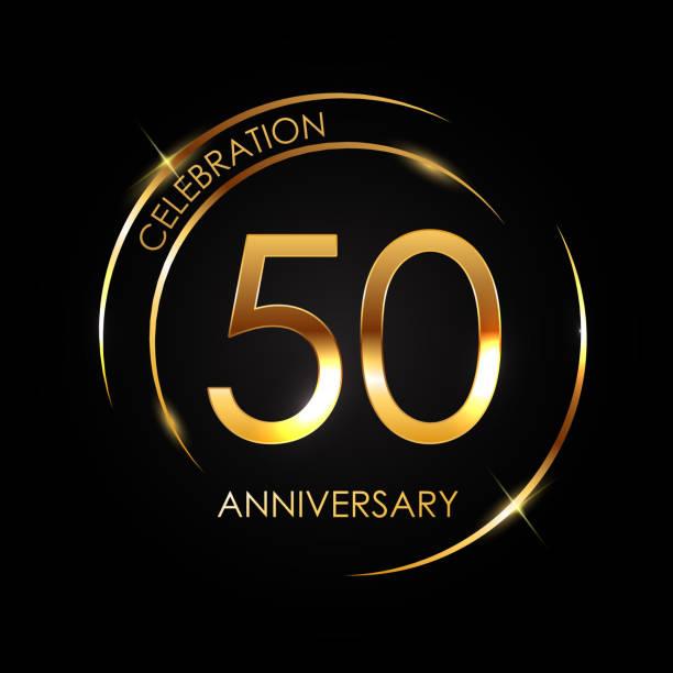 bildbanksillustrationer, clip art samt tecknat material och ikoner med mall 50 år jubileum vektorillustration - talet 50