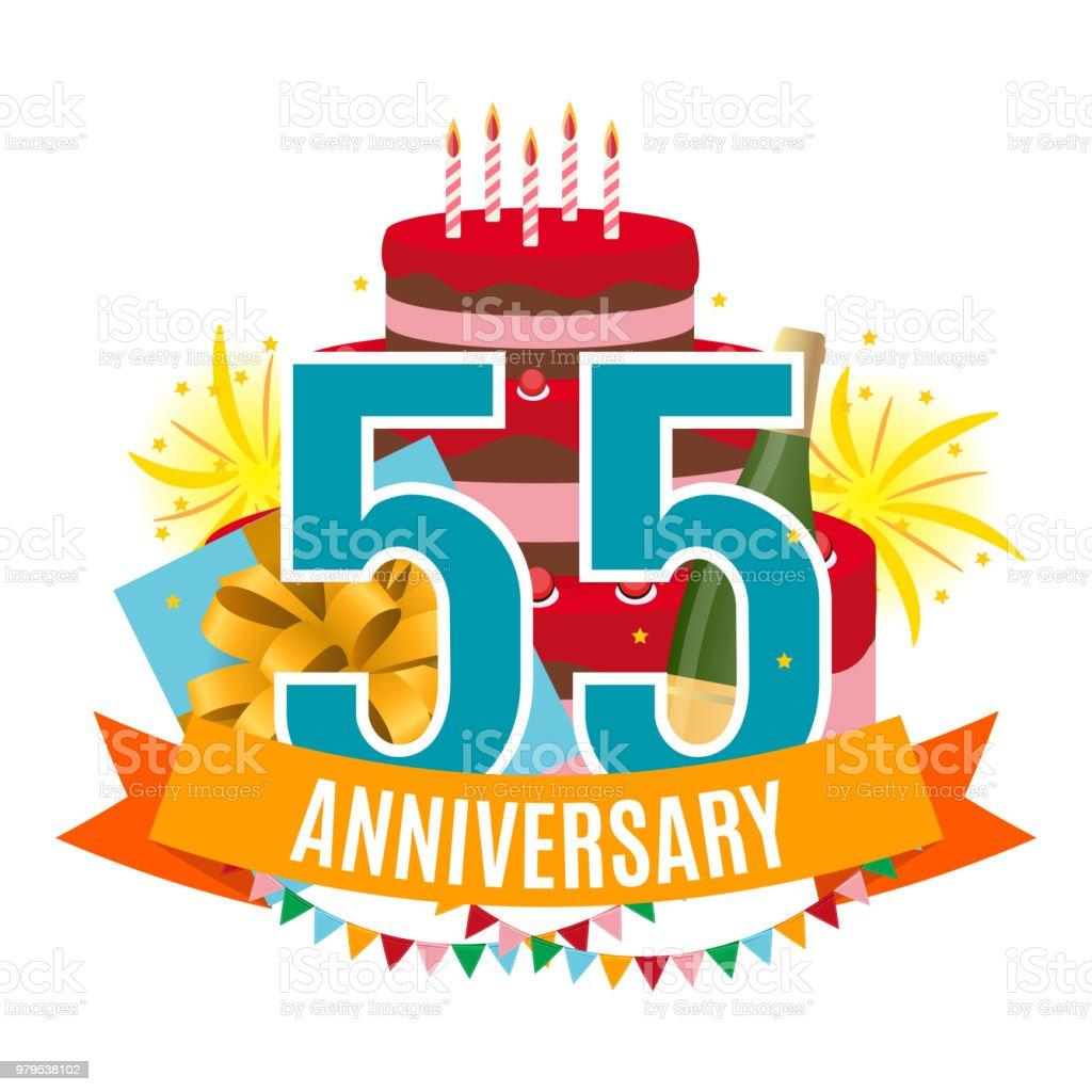 Sjabloon 55 Jaar Verjaardag Gefeliciteerd Wenskaart Met Cake De Doos