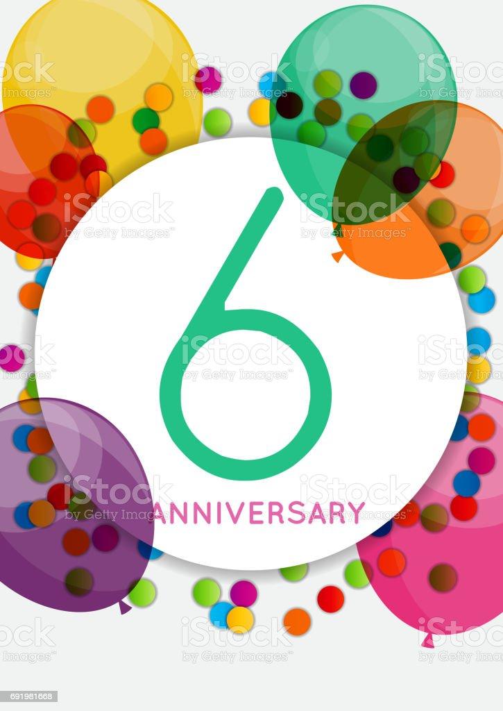 Vetores De Modelo 6 Anos Aniversário Parabéns Cartão Inv E